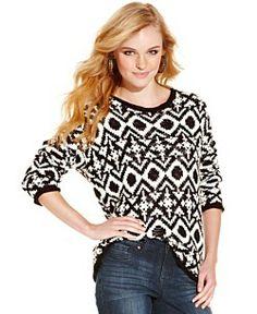 Jessica Simpson Sweater, Long Sleeve Valleys Graphic