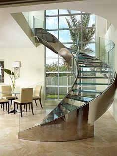 Elegant Floating Staircase Design for Stunning Interior - Architecture Staircase Railings, Curved Staircase, Grand Staircase, Staircase Design, Stairways, Spiral Stairs Design, Stair Design, Spiral Staircases, Glass Stairs Design