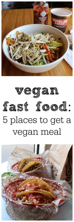 In a hurry? Here are 5 places where you can find vegan fast food options. Restaurants include Chipotle, Noodles & Company, Bruegger's Bagels, Starbucks, and Blaze Pizza. | cadryskitchen.com