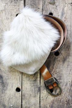 Zelda Belt Bag • Vintage suede leather, white rabbit fur bag with brown leather belt. Keep your essentials safe in this soft and beautiful upscale fanny pack.