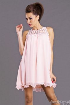 Sukienka z #koronka u góry.... #Sukienki - http://bmsklep.pl/emamoda-sukienka-rozowy-6807-4