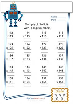 3 Digit by 3 Digit Multiplication Worksheet -#4 Printable Multiplication Worksheets, Learning Multiplication, Teaching Math, Math Sheets, Math Practices, Math Intervention, Arithmetic, 1st Grade Math, Math Games