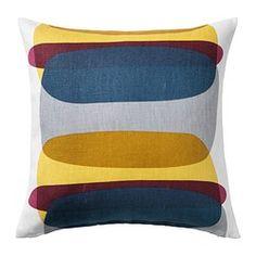 MALIN FIGUR クッションカバー, ブルー/グレー, イエロー - IKEA