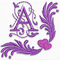 Purple heart font - Cute Alphabets - Embroidery Fonts