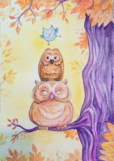 3 happy owls small watercolor painting