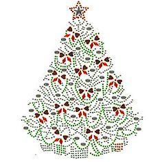 "Christmas Tree Hotfix Iron-on Rhinestone / Rhinestud Transfer 6x7"""