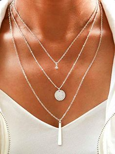 Yalice Multi-Layered Disc Necklace Chain Bar Drop Pendant Necklaces Coin Jewelry for Women and Girls (Silver): Jewelry Layered Choker Necklace, Multi Layer Necklace, Disc Necklace, Necklace Lengths, Pendant Necklace, Necklaces, Women's Jewelry Sets, Coin Jewelry, Silver Jewelry