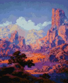 "Cross stitch pattern Maxfield Parrish ""Arizona"" PDF - New EASY chart with one color per sheet And regular chart! Two charts in one! by HeritageCharts on Etsy"