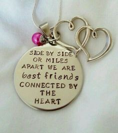 b8d616a699 Gotta get this for me and my bffs.side by side or miles apart we are best  friends connected by the heart hand stamped necklace by TempleStamping  Perfect for ...