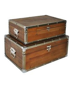Look at this #zulilyfind! Metal Border Wood Suitcase Set by Cheung's Rattan Imports #zulilyfinds