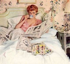 """Illustration for magazine advertisement. Pin-up gal reading in bed on soft sheets wearing her negligee. Ladies Home Journal, July By John Gannam. """"John Gannam was. Retro Humor, Vintage Humor, Vintage Ads, Vintage Images, Retro Funny, Funny Vintage, Vintage Clothing, Vintage Style, Pin Up Retro"""