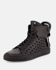 d30ae8a805582 Buscemi calfskin leather high-top sneaker with perforated details.  Oversized pull loop with key and pocket accent. Padlock at heel counter.