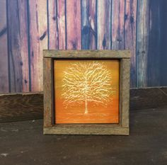 Wood Wall Decor, Rustic Art, Reclaimed Wood, Orange, Brown, Yellow, Tree, Hand Engraved, Gift For Him, Office, Country, Fall, Autumn
