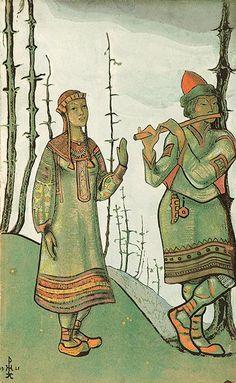 "Nicholas Roerich, Snegurochka and Lel, Costume design for Rimsky-Korsakov's opera ""Snegurochka"", 1921, For Chicago Opera Company production, 1922"