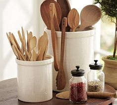 I'm usually not a fan of my cooking utensils displayed on my kitchen counter but there's something about this that is making me want to consider. :)   Rhodes Kitchen Crock #potterybarn