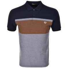 Fred Perry Colour Block Polo T Shirt Blue | Mainline Menswear