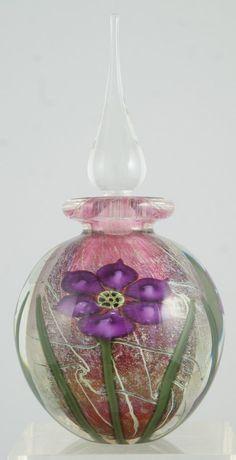 Vandermark Art Glass perfume bottle with burgundy