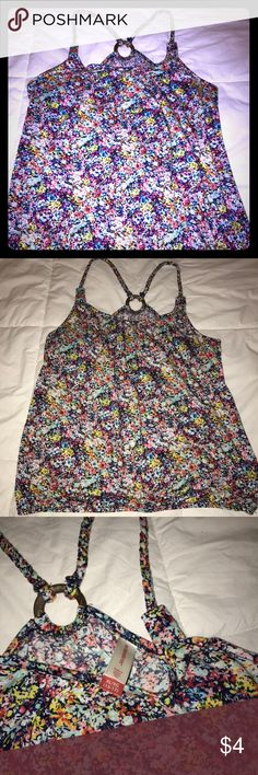 Floral summer tank Summer floral tank with braided straps. Super comfy, gently used. Great by itself or with an open seater or jean shirt! Material is very soft, only worn twice. No Boundaries Tops Tank Tops