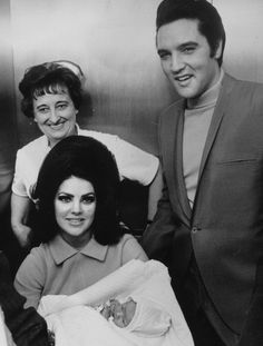 Elvis Presley with his wife Priscilla and their new-born baby Lisa Marie at the Baptist Hospital in Memphis in February 1968.