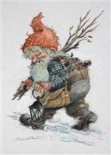Nisse med småstaur  (Gnome with small sticks) - Kjell Midthun