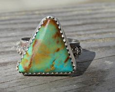 Southwest-style Turquoise Ring Triangle Stone by MHParsonsJewelry