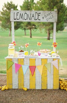 Summer Fun - Lemonade Stand  make table skirt with posterboard or strips of cloth and put in card table