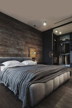 Modern Mens Bedroom Grey With Dark Wood Walls And Flooring decor bedroom grey 80 Bachelor Pad Men's Bedroom Ideas - Manly Interior Design