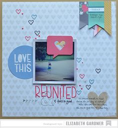 Lovely layout created using the Cut and Paste collection from Amy Tangerine. #americancrafts #papercrafts #scrapbooking