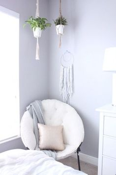 "I am just popping in today with a few more pops of pale blush pink from my daughter's room. Hannah loves her new room (we did a makeover last summer!) She loves her soft grey walls and has a cute ""boho"" style. My pretty blush pink IKEA pillows looked fabu Pink Bedroom Decor, Pink Bedrooms, Gold Bedroom, Pretty Bedroom, Grey Wall Bedroom, Soft Grey Bedroom, Comfy Bedroom, Grey Bedroom With Pop Of Color, Pink And Grey Room"