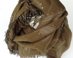 Olive Green Square head scarf, Embellished Sparkle Scarf with fringe Holiday Gift for Teacher, Bling scarf Dull Green Scarf, Coworkers gift by blingscarves. Explore more products on http://blingscarves.etsy.com
