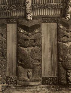 [Maori carved panels] by John Johns Polynesian People, Polynesian Designs, Maori Designs, Abstract Sculpture, Bronze Sculpture, Wood Sculpture, New Zealand Houses, Maori Art, Ice Sculptures