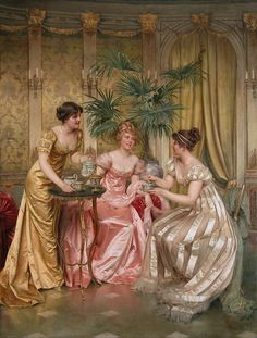 Soulacroix, Frederic (b,1858)- Tea Time, I {There is a very similar painting below- they are different in a slew of small ways}