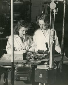 """By the end of the thirties women were enrolled in the newer chemistry, photographic technology and printing programs."" Ca. 1930's."