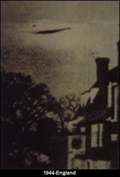 "1944 - England - This UFO was photographed over England in 1944. Source: ""The X Factor"" magazine issue 53 (Marshall Cavendish publications).    No other information is know about the photograph at this time."