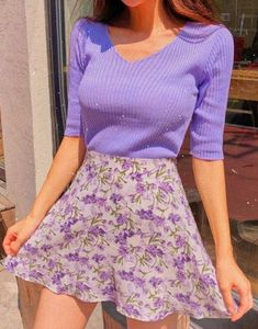 Nice purple sweater and floral skirtYou can find Floral skirts and more on our website.Nice purple sweater and floral skirt Purple Outfits, Casual Summer Outfits, Spring Outfits, Trendy Outfits, Diy Outfits, Woman Outfits, Games Outfits, Summer Tomboy, Purple Dress Casual