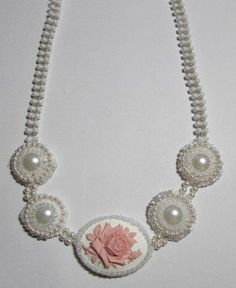 Bead embroidered components necklace. by SassyBeadedJewelry