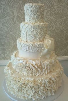 """Vera Wangs """"Lark"""" bridal gown inspired wedding cake. Love if u leave the LCD at the top then it would look like my dress!"""