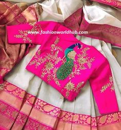 Looking for some creative Blouse Designs to go with your favourite silk saree? Check out these gorgeous blouses and tell me which one of these is your fav? Wedding Saree Blouse Designs, Silk Saree Blouse Designs, Fancy Blouse Designs, Blouse Neck Designs, Peacock Blouse Designs, Vanz, Stylish Blouse Design, Designer Blouse Patterns, Collor