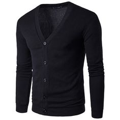 Mens Button Up Knit Slim Long Sleeve Solid Color Casual Cardigan