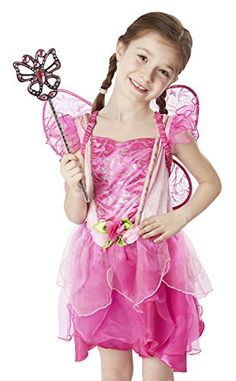 Melissa  Doug Flower Fairy Role Play Costume Set 3 pcs  Pink Dress Wings Wand >>> For more information, visit image link.