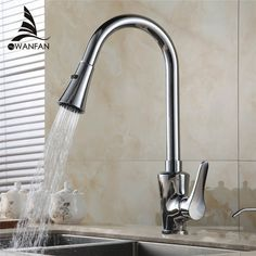 Polished Chrome Pull Out Kitchen Sink Faucet Single Handle Hot U0026 Cold Water  Kitchen Mixer Tap