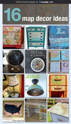 I love decorating with old maps! I always just thought hanging them on the wall was all I could do but these ideas really blew me away! Map Crafts, Arts And Crafts, Map Projects, Globe Decor, Map Globe, Vintage Maps, Antique Maps, Old Maps, Coaster Furniture