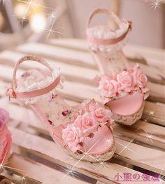 【小熊可可007】甜美浪漫花开の仙美华丽プリンセス鞋(三色) sizes 35-39 European size Pink Lolita kawaii lace Rose High Heel Sandals Gyaru Shoes from Taobao 299 yuan