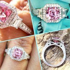 90c4361ac 4.33Ct Asscher Pink Diamond Fancy Engagement Wedding Ring Solid 14k White  Gold