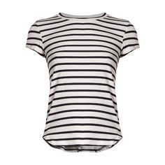 Frame Round-neck striped jersey T-shirt ($121) ❤ liked on Polyvore featuring tops, t-shirts, blue stripe, military t shirts, relax t shirt, stripe tee, blue t shirt and white round neck t shirt