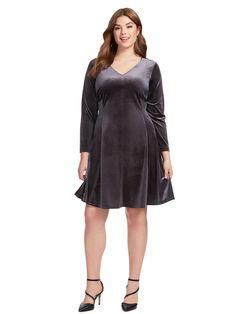 Fit And Flare Dress In Steel Velvet