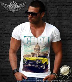 CUBA Men's Gangster T-shirt Mafia Insured Old Yellow Car Cocaine Boss MD421