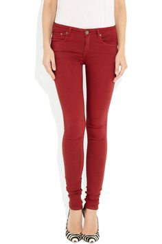 VICTORIA BECKHAM DENIM Blood Red skinny jeans Victoria Beckham Jeans, Red Skinny Jeans, Gucci Shoes, Leggings Fashion, Zebra Print, Jeans Style, Stretch Denim, Capsule Wardrobe, Blood