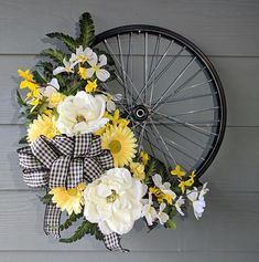White and Yellow Floral on Black Bicycle Wheel Wreath spring wreath summer wreath#ad