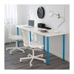 LINNMON / ADILS Table, white, blue white/blue 78 3/4x23 5/8